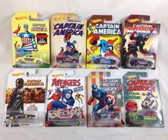 Hot Wheels Captain America Set 1 2 3 4 5 6 7 8  Walmart Exclusive 2016 Comic Art #HotWheels #Marvel