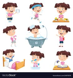 Girl doing various activities Royalty Free Vector Image Diaria preescolar Daily Routine Activities, Toddler Learning Activities, Montessori Activities, Indoor Activities, Kids Learning, Cartoon Cartoon, Cartoon Girls, Routine Chart, Art Drawings For Kids