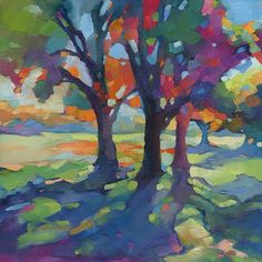 Anticipating Autumn fauve impressionist oil painting of a Louisiana landscape • contemporary bold colorful art of sunny trees and shadows