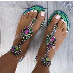 PVC Rubber Women's Crystal Green Neutral Black Spring Summer Casual PU Flat Heel Under 1 inch Sandals Flip-Flops 35 36 37 38 39 40 41 42 43 Shoes Flip Flop Sandals, Women's Shoes Sandals, Flip Flops, Clear High Heels, Glitter Sandals, Jeweled Sandals, Gladiator Heels, Shoe Boutique, Slippers
