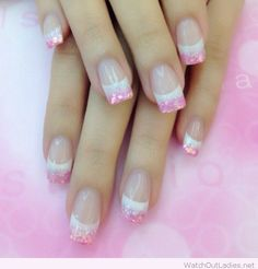 Pink and white glittered tips