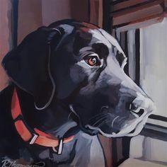 """Labrador Retriever Daily Paintworks - """"Hank - Day - Original Fine Art for Sale - © Rachel Thompson - Labrador Noir, Black Labrador Retriever, Labrador Retrievers, Animal Paintings, Animal Drawings, Art Drawings, Tier Fotos, Arte Pop, Dog Portraits"""