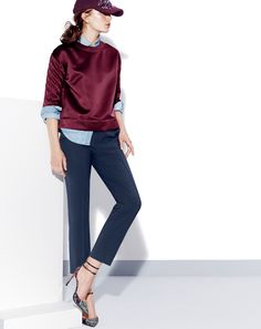 November Style Guide sneak peek. Our Very Personal Stylist team can help you pre-order the Eaton boy trouser in bi-stretch wool and the Collection quilted satin popover before they become available on Wednesday 23 October. Call 800 261 7422 or email erica@jcrew.com.