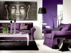 Wohnzimmer in Lila
