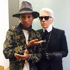 Pharrell Williams with Karl Lagerfeld