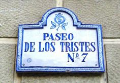 Street names signs in Granada, Spain