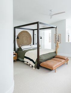 Kyal and Kara | Blue Lagoon Gallery - GlobeWest Jardan Furniture, White Wall Lights, Kyal And Kara, Surf House, Beach House, White Internal Doors, Four Poster Bed, Bedroom Carpet, Small Space Living