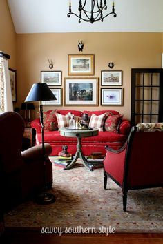 The Wall Display Over The Sofa Would Work For The Cabin Great Way To Integrate Red Couch Living Roomred