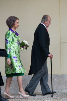 King Juan Carlos of Spain and Queen Sofia of Spain arrive to the Cervantes Awards ceremony at the Alcala de Henares University on 23.04.14 in Alcala de Henares, near of Madrid, Spain.