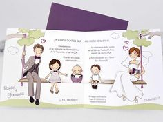 Antonio y eva Wedding Day Cards, Family Guy, Place Card Holders, Baby Shower, Invitations, Fictional Characters, Ideas Para, Jasmine, Diana