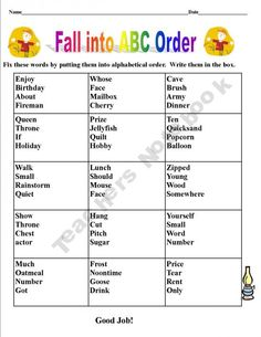 This is a set of BACK TO SCHOOL worksheets for September. It can be used to REINFORCE GRADE THREE site words or used as an assessment to see what they know. The students are to put the words in alphabetical order.