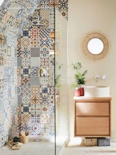 Define your style. Does your bathroom need a pop of colour? Mismatch any of our ceramic wall tiles to create an effortless boho chic feel to any bathroom. Boho Bathroom, Diy Bathroom Decor, Bathroom Design Small, Bathroom Interior Design, Navy Bathroom, Bathroom Niche, Cream Bathroom, Industrial Bathroom, Simple Bathroom