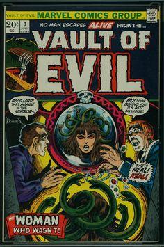 Vault of Evil Marvel) comic books Marvel Comic Books, Comic Books Art, Comic Art, Marvel Comics, Book Art, Funny Horror, Creepy Horror, Old Comics, Funny Comics