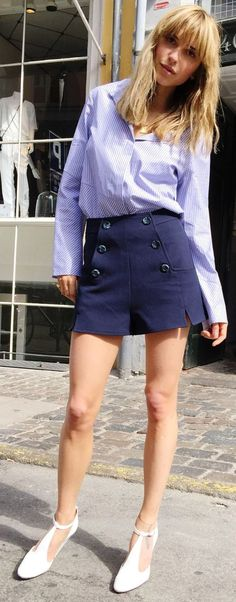 Navy High Waisted Shorts