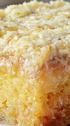 Do Nothing Cake aka Texas Tornado Cake ~ Pineapple dump/poke cake with coconut…