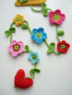 Pretty crochet flower garland.