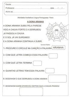 ALFABETIZAÇÃO SOLIDÁRIA: Atividade Avaliativa Linguá Portuguesa Dona Aranha