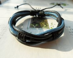 Popular Trend Fashion Multilayer black Leather cuff Cute Dark Blue Cotton cord Adjustable Wrap Bracelet M-71 on Etsy, $3.50