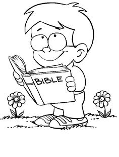 New Coloring Page Bible Boy Reading Printable