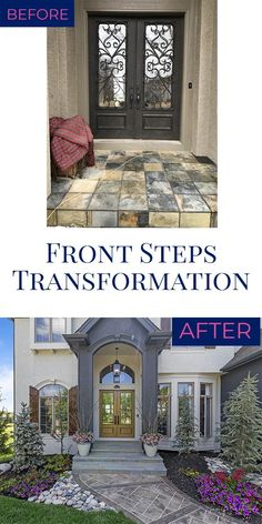 Front Steps Transformation – Jennifer Allwood Home Simple House Exterior Design, Small House Design, Small House Decorating, Porch Decorating, Decorating Tips, Outdoor Wall Decor Large, Bluestone Pavers, Painted Front Doors, Entrance Decor