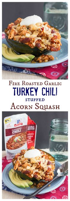 Fire Roasted Garlic Turkey Chili Stuffed Acorn Squash - a healthy, low carb alternative to a bread bowl, and it's quick and easy enough for a family dinner even on a busy weeknight | cupcakesandkalechips.com | #WeekdaySupper with #McSkilletSauce #RecipeSerendipity #recipe #food #cooking
