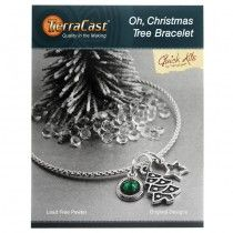 TierraCast Kit, Holiday Oh Christmas Tree Bracelet 7-9 Inches, 1 Kit, Antiqued Silver/Green