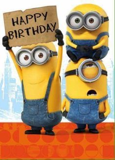 Happy Birthday Sign Minions Card -Funny Pictures to Send or Share via Whatsapp Happy Birthday Status, Happy Birthday Signs, Happy Birthday Pictures, Happy Birthday Greetings, 21st Birthday, Happy Birthday Grandson, Minion Birthday Wishes, Birthday Card Messages, Birthday Wishes Quotes