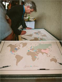 love this map for people to sign and how it has their names on it. also love the bride's headband and placement, the globe with gold foil quote and the suitcases. I'd like to have a few pictures from our travels as well