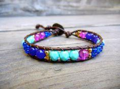 Beaded Leather Single Wrap Stackable Bracelet by BetsyGraceJewelry