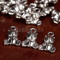 20X Antique Silver Double sided Cute teddy Bear Charms Pendants 16x10mm Findings