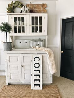 DIY Coffee bar- the beginning of a coffee bar in a farmhouse living room with a cottage decor vibe.