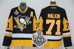 Penguins #71 Evgeni Malkin Black Alternate 2017 Stanley Cup Final Patch Stitched NHL Jersey