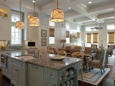 Open plan great room, beach house in Watercolor Florida, as pretty as it sounds. Check out the whole house. From House of Turquoise: Geoff Chick & Associates. House Of Turquoise, Turquoise Kitchen, Coastal Homes, Coastal Decor, Coastal Living, Coastal Paint, Coastal Bedding, Modern Coastal, Coastal Curtains