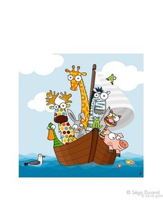 "Série Golo Schilderij ""Funny ship's boys"" - (B)59 x (H)59 x (D)3 cm"