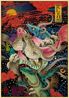"""crossconnectmag: """" Vibrant Art by Rlong Wang Chinese artist Rlong Wang creates vivid art that bursts off the page. His intricate work is full of mythic creatures and mythology. See more of his work on..."""