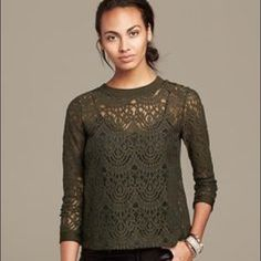 Banana Republic • olive lace top Olive green lace top.  Slightly cropped length (not belly revealing - just a trendy tiny crop) and gorgeous buttons up the back.  Excellent used condition. Banana Republic Tops