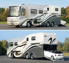 This is how we are going to travel when we retire, especially love the convertible Mini!!