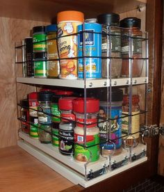 Organize cabinet spices or other small kitchen items in this slim multi-level organizer rack from Vertical Spice. This clear-view rack has 3 slide out drawers. Spice Rack Organization, Kitchen Organization, Kitchen Storage, Food Storage, Organizing, Corn Curry Recipe, Kitchen Items, Kitchen Dining, Kitchen Cabinets