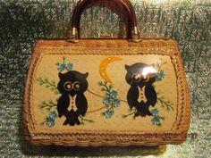Vintage Wicker Handbag Pocketbook Adorable Owls Tortoise Shell Handles | eBay
