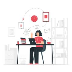 At work concept illustration Free Vector Business Illustration, Flat Illustration, Illustrations, Design Ios, Line Design, Motion Design, Design Thinking, Vector Character, Home Office