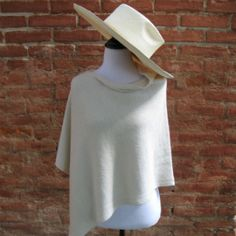 poncho court alpaga blanc naturel