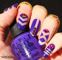 Pinned from NailsofAquarius.com: Purple Negative Space Geometric Nail Art #naillinkup