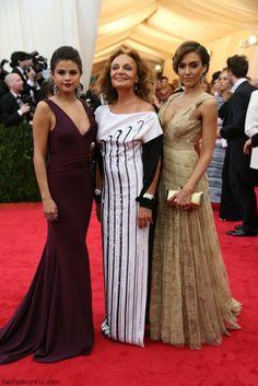 Designer Diane von Furstenberg  with Jessica Alba and Selena Gomez at 2014 MET Gala.