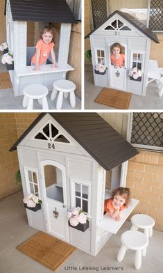 Our Kmart Cubby Hack ur Kmart Cubby hack for our toddler and preschooler. We painted and decorated t Kids Cubby Houses, Kids Cubbies, Play Houses, Diy Playhouse, Playhouse Outdoor, Painted Playhouse, Toddler Playhouse, Backyard Play, Backyard For Kids