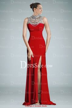 Comely Jewel Neckline Side-split Evening Dress Featuring Glamorous Beads