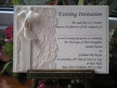 ivory wedding invitation lace flat - Recherche Google