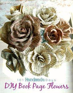 DIY Book Page Flowers - BusyBeingJennifer.com #101HandmadeDays  #snickerdoodlesunday