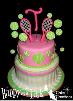 Birthday cakes, custom cakes, cakepops, cupcakes, cookies and any custom dessert you can dream. Tennis Cupcakes, Tennis Cake, Tennis Party, Rodjendanske Torte, Tall Wedding Cakes, 32 Birthday, Sport Cakes, Floral Cake, Diy Cake