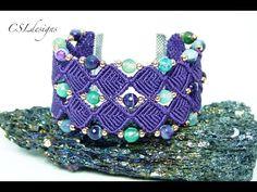Beaded diamonds micro macrame bracelet - YouTube
