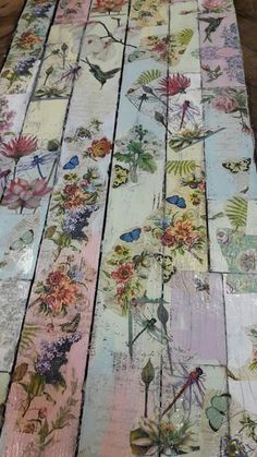 Wooden floor painted with chalk paints and decoupaged with napkins. #DIYShedFloor